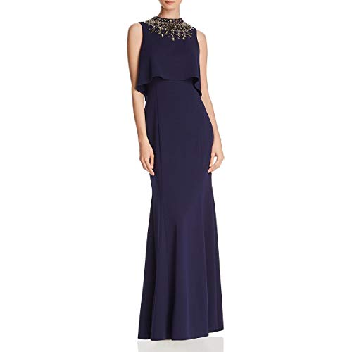 Aidan Mattox Womens Embellished Crepe Formal Dress Navy 12