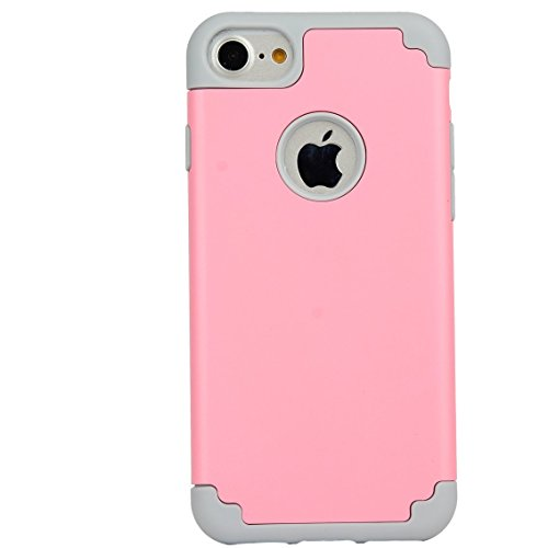 iPhone 7 PLUS 5.5 Case,ibarbe Slim Premium Shock Absorption Plastic Rubber Silicone Bumper Cushion Scratch Resistant Protective Cases Hard Cover for Apple iPhone 7 PLUS 5.5 2016 (pink/grey)