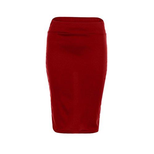 de Cintura elástica Flaco Falda Rodilla Mujeres Sólido hasta Alta Mujeres Las elástico Delgado lápiz lápiz OHQ Delgado Rojo la Rojo Faldas del Flaco Morado Negro xqf66