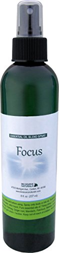 Focus Essential Oil Blend Aromatherapy Spray with Gem Elixirs & Flower Essences 8 fl oz / 227 ml with Essential Oils of Vetiver, Cedarwood and Lavender. Ylang Ylang and Sandalwood.