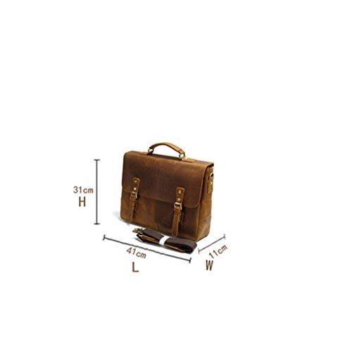 NONGNIML Umhängetasche Die erste Schicht aus Leder Männer Handtasche Schulter Handbuch machen Leder Umhängetasche Vintage Laptop Tasche Reisen Shopping Camping Outdoor tiefer Kaffee B48pMduC
