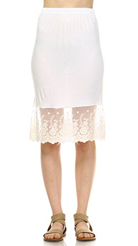 Melody [Shop Lev] Women Lace Half Slip Skirt Extender for Skirt LENGTHENING and Extension (Ivory, Large)