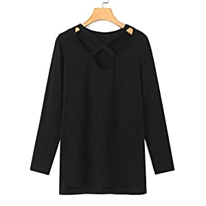YOINS Donna Camicia Casuale Camicetta Collo a V Manica Lunga Cime Maglietta Croce T-Shirt