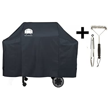 Texas Grill Cover 7573 | 7106 Premium Cover for Weber Spirit 200 and 300 series and Weber Genesis Silver Gas Grill Including Grill Brush and Tongs