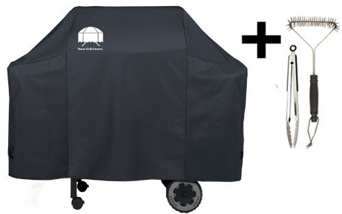 Texas Grill Cover 7573 | 7106 Premium Cover for Weber Spirit 200 and 300 series and Weber Genesis Silver Gas Grill Including Grill Brush and BBQ Tongs