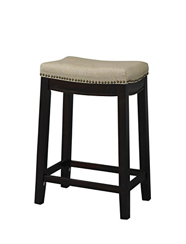 Hampton Dark Walnut Wood - Linon Hampton Stool Fabric Top, 24-inch
