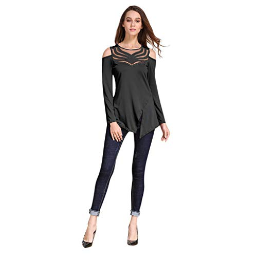 AMOFINY Women's Long Sleeve Leggings Shoulder Lace Panel T-Shirt Off Shoulder Solid Casual Tops