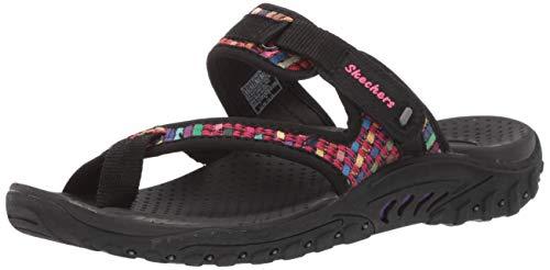 Skechers Women's Reggae-MAD Swag-Toe Thong Woven Sandal, Black, 12 M US
