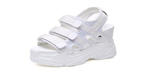Muffin Verano Pendiente Ocio Tacón Zapatos Mujer Zapatos Roma Tacon Cuadro El de De 12 Grueso Cm Alto HBDLH De De Aumentar white Fondo Sandalias De Impermeable xBAgOH