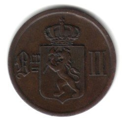 1876 Norway 2 Ore Coin KM#353