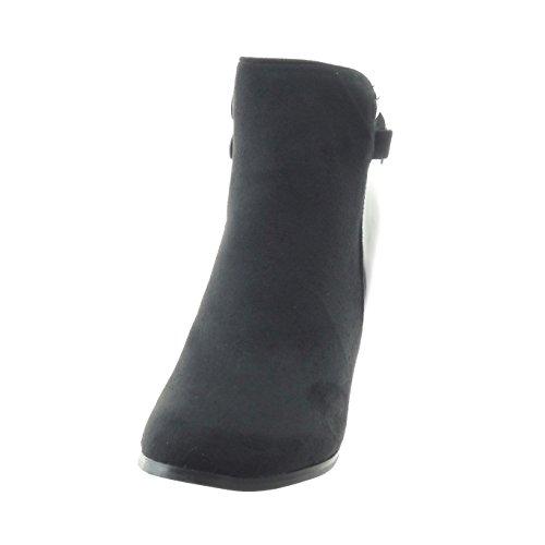 Sopily - Scarpe da Moda Stivaletti - Scarponcini bi-materiale alla caviglia donna lucide metallico Tacco a blocco tacco alto 10 CM - Nero