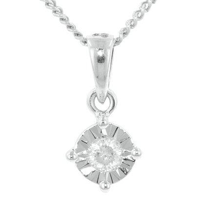 Diamant 0,10 carat Or Blanc Pendentif oeil