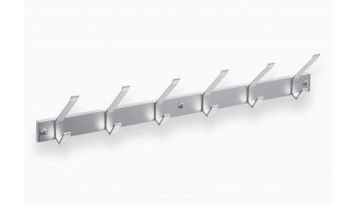 Hochwertige Garderobenleiste Hakenleiste Kleiderhaken Aluminium mit 6 Haken 690 x 40 mm = 3433