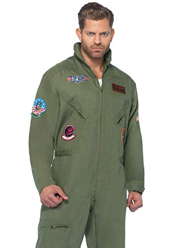 80s Jumpsuit Costume (Leg Avenue Men's Top Gun Flight Suit Costume, Khaki/Green,)