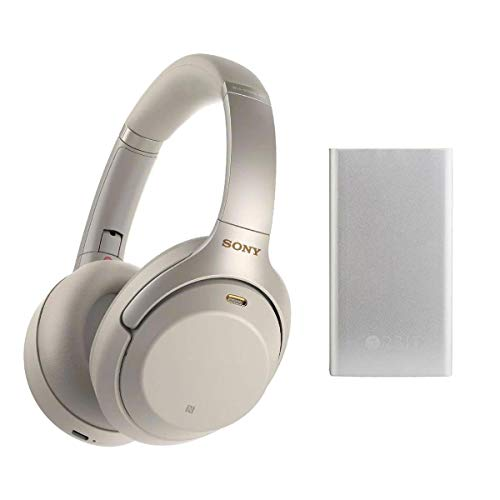 Sony WH-1000XM3 Wireless Noise-Canceling Over-Ear Headphones, Silver – with Orbit Powerbank Charger and Bluetooth…
