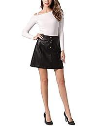 Women's Faux Leather Vintage High Waist Classic Slim Mini Pencil Skirt