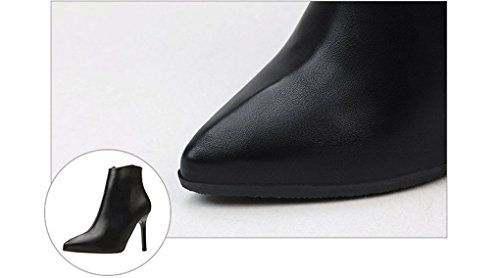 Simple Solid Color Leisure Single Shoes Zipper High-Heeled Martin Boots Pointed Thin Heel Boots Black 7W1th