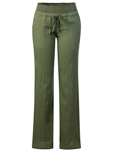 Design by Olivia Women's Comfy Drawstring Elastic Waist Linen Pants with Pocket (S-3XL) Olive M ()