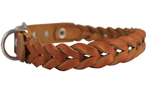 - Dogs My Love Tan Genuine Leather Braided Dog Collar Braided 1