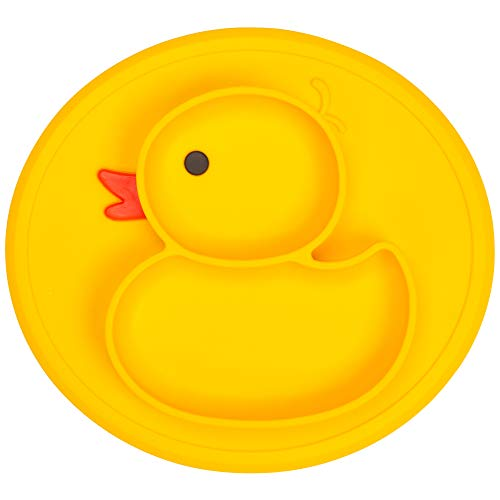 Qshare Toddler Plates, One-Piece Baby Plate for Toddlers and Kids, BPA-Free FDA Approved Strong Suction Plates for Toddlers, Dishwasher and Microwave Safe Silicone Placemat (Little-Duck, Yellow-Duck)