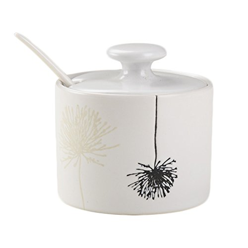 - CHOOLD Japanese Style Ceramic Floral Spice Jar with Lid Spoon Flower Seasoning Box Condiment Pots Spice Racks for Kitchen Housewarming Gift