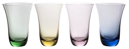 Aurora Rainbow Deluxe Highball Glasses, Modern Colored Glassware, Set of 4, 16 fl oz