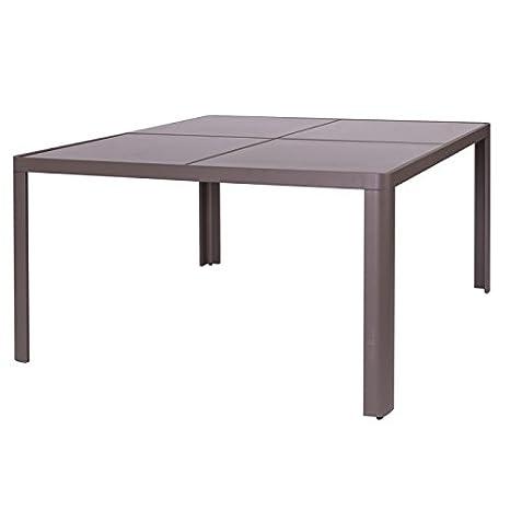 Mesa de jardín cuadrado en aluminio gris y cristal Soria - L ...