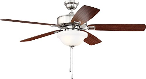 Craftmade Ceiling Fan with LED Light TCE52BNK5C1 Twist N Click 52 Inch, Brushed Polished Nickel