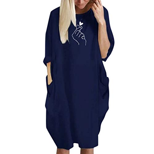 - iLUGU Womens Pocket Loose Dress Ladies Crew Neck Casual Long Tops Dress Plus Size