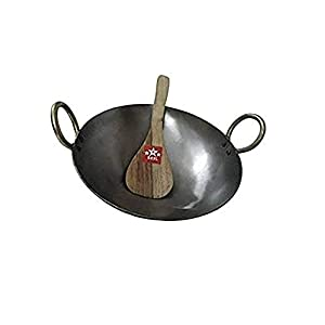 BRRL Pure Iron Kadai Lokhand Loha Kadhai Large Heavy Wok Cooking Pan 11″ with Wooden Karchi