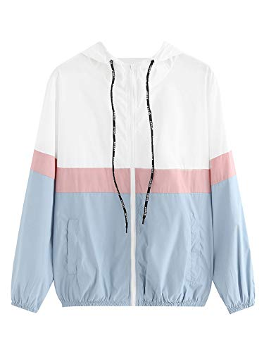 SweatyRocks Women's Casual Sport Colorblock Drawstring Hooded Windbreaker Jacket Blue M