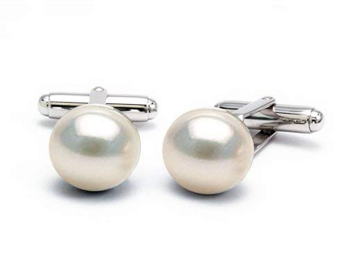 Pearlina Sterling Silver Cufflinks White Freshwater Cultured Pearl (10-11 mm) Cuff links for Man or Woman