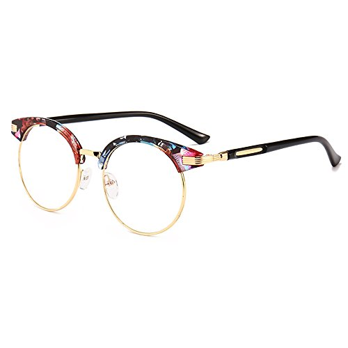 Frame Frame Glasses Retro Myopia Eyeglasses Floral Rrame Art Rlat Frame Big Plain Round Round Mirror Sunglasses Fauhsto Personality BfzSq