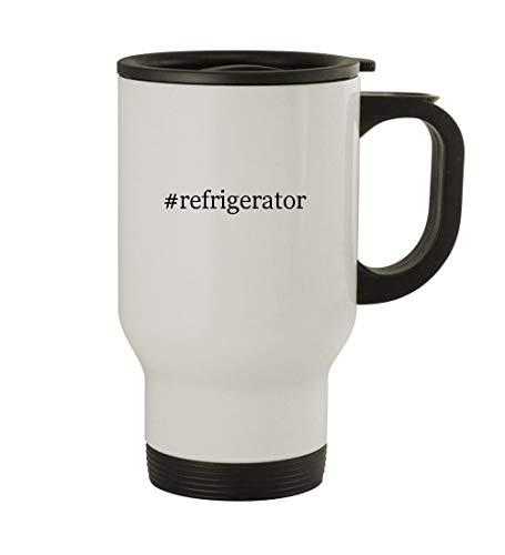 #refrigerator - 14oz Sturdy Hashtag Stainless Steel Travel Mug, White ()