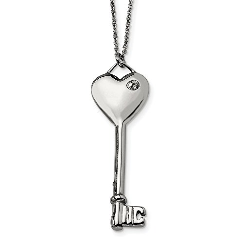 ICE CARATS Stainless Steel Heart Cubic Zirconia Cz Key Pendant Chain Necklace Charm S/Love Fashion Jewelry Gifts for Women for Her