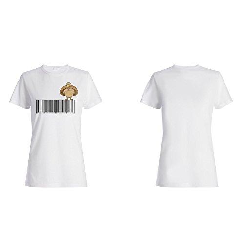 Arte Del Código De Barras Del Pavo-Pájaro-Arte camiseta de las mujeres o193f