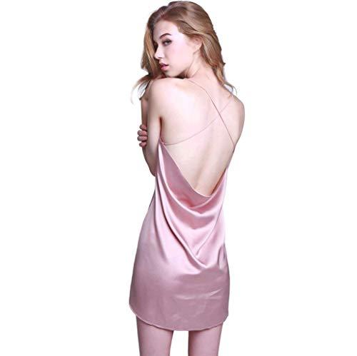 Color Moda Cómodo Bastante Silk Mangas Pink De Sin Mujer Vestido Camisón Dormir Camisones Elegantes Cortos Sólido Espalda Descubierta Verano Suave Camison UqxzI4w