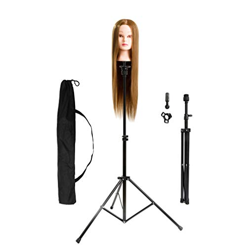 HYOUJIN Wig Stand Metal Adjustable Cosmetology Hairdressing Training Mannequin Head Tripod Stand for Hair Extensions Canvas Block Wig Head (Black Hair Extensions 23)