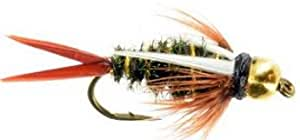 Prince Bead Head Nymph Fly Fishing Trout Flies - One Dozen Wet Flies - 4 Size Assortment 12,14,16,18 (3 of Each Size)