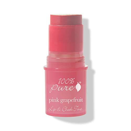 100% PURE Lip & Cheek Tint (Fruit Pigmented), Pink Grapefruit, Long Lasting Lip and Blush Stick, Natural Makeup, Lip Tint, Cream Blush (True Pink Color) - 0.26 Oz