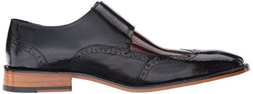 Stacy Adams Mens Brewster Dubbel Munk Rem Vingspets Slip-on Loafer Svart / Vinröd