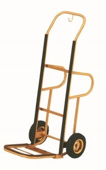 Aarco HT-1B Bellman Brass Hand Truck with Pneumatic Wheels