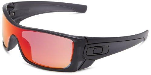 Ruby Iridium Lens (Oakley mens Batwolf OO9101-38 Ruby Iridium Sport Sunglasses,Matte Black Ink,55)