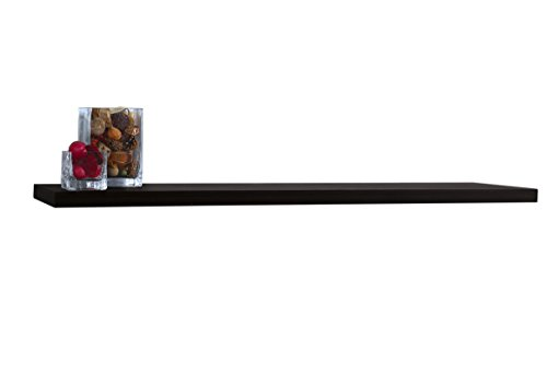 4674 Slimline Floating Wall Mountable Shelf with Invisible Brackets, Black, 48-Inch Wide by 8-Inch Deep by 1.25-Inch High (Black Wood Shelf)