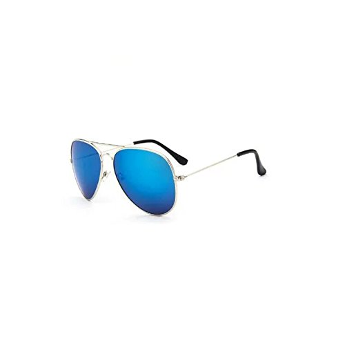 Garrelett Retro Classic Outdoor Sunglasses Reflective Sun Eyewear Eyeglasses Metal Silver Frame Blue Lens for Men Women