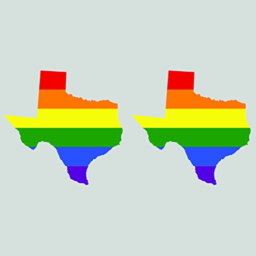 Two Pack Texas State Shaped Gay Pride Rainbow Flag Sticker Self Adhesive Vinyl Decal LGBT TX fagraphix 3160CFBFA-2-FA78281