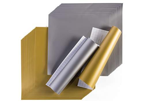 Cricut Premium Vinyl - Removable, 12' x 12' Adhesive Decal Sheets - Gold & Silver