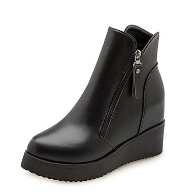 RTRY Combat CN37 PU Boots Women's US6 7 Shoes Heel Winter EU37 Boots Fall 5 Black 5 UK4 5 Toe Round For Flat Zipper Casual rgxqrFfX