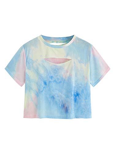 SweatyRocks Women's Summer Short Sleeve Tee Distressed Ripped Crop T-Shirt Tops Camouflage Blue Pink M
