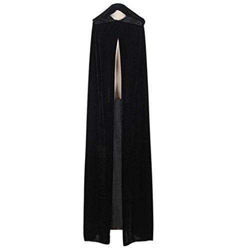 Unisex Witch Cloak with Large Hood Halloween Cloak Princess Ghost Renaissance Costume Cape (Adult-L, Black)